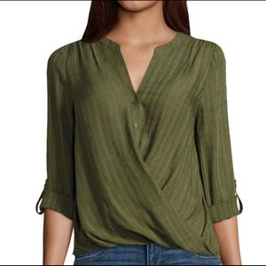 a.n.a. Long Sleeve Y Neck Woven Blouse